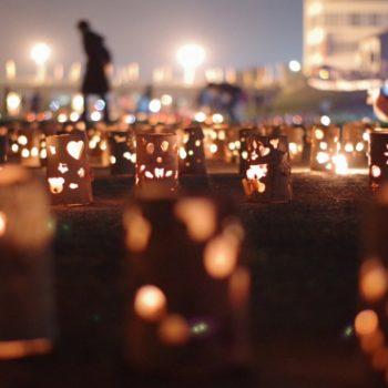 土岐川河川敷|陶製ランプシェードで夜をライトアップ|あかりの夕べ(毎年10月)