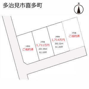 【残り3区画】多治見市喜多町の土地 4区画分譲 建築条件付き売地